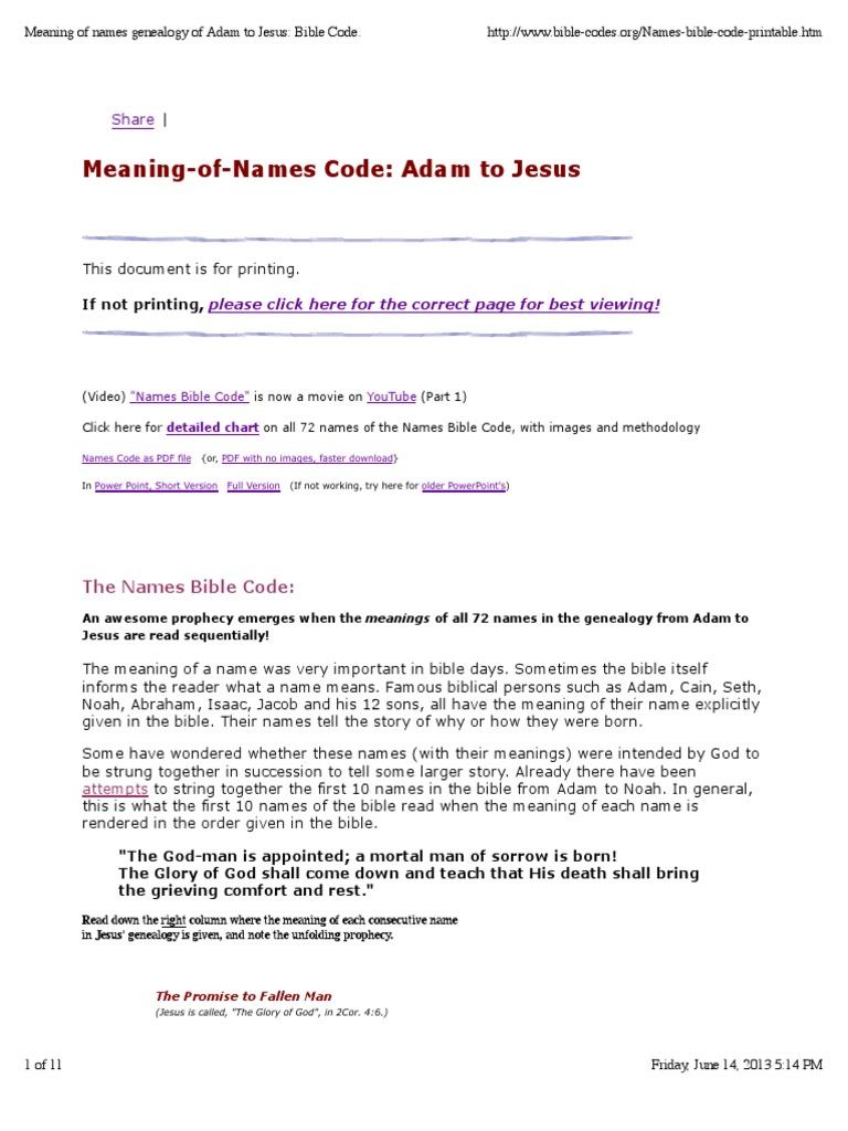image about Names of God Chart Printable named Indicating of Names Genealogy of Adam toward Jesus_ Bible Code