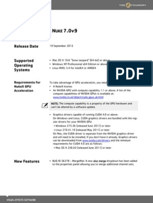 Nuke 7 0v9 ReleaseNotes | Graphics Processing Unit