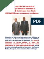 Résolution du Sénat de la République d'Haïti réclamant la nomination du Conseil d'Administration du CONATEL
