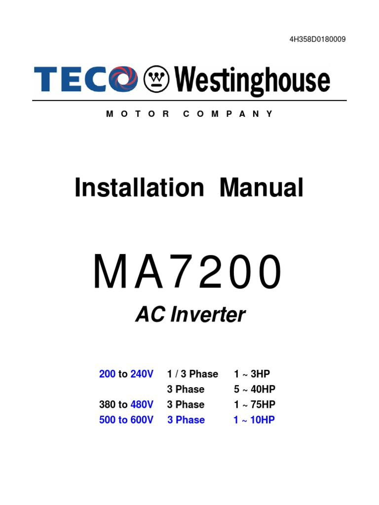 Teco Westinghouse Motor Wiring Diagram 38 Images Electric Motors 1509670107 Ma7200 Installation Manual Power Inverter Supply Diagrams 154 At Cita