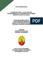 La Cultura Del Incumplimiento de Las Normas en Colombia