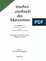 135440209 Labica G Bensussan G Haugh W F Hrsg Kritisches Worterbuch Des Marxismus Band 3 Gattung Bis Judenfrage 1985