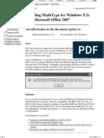 Installing MathType for Windows on Office 2007