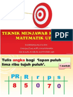 Teknik Menjawab Matematik UPSR