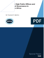 Rewards for High Public Offices and the Quality of Governance in Sub-Saharan Africa