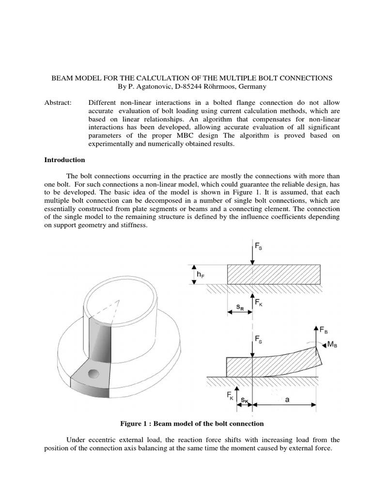 Bolt Calculation Method AgatonovicAdvancBalkenModel | Stiffness | Screw