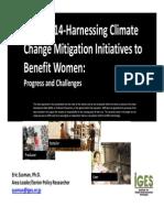RETA 7914-Harnessing Climate Change Mitigation Initiatives to Benefit Women