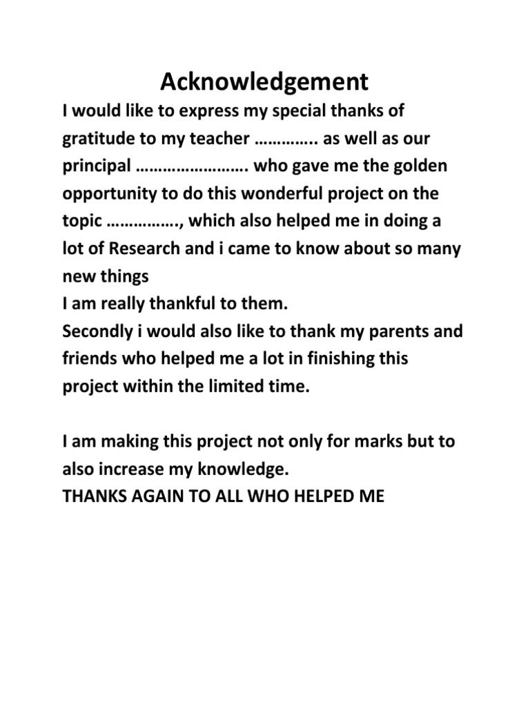 final year project acknowledgement