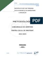 Metodologia Admitere Masterat FEAA 2013