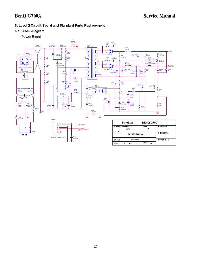 Lcd Monitor Benq G700g700a Electrical Network Rectifier Level 2 Block Diagram