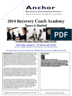 Anchor Recovery Coach Academy Flyer January 2014