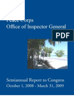 Peace Corps Office of Inspector General Report To Congress Semi Annual 2008-2009