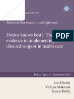 Doctor knows best? The use of evidence in implementing self-directed support in health care