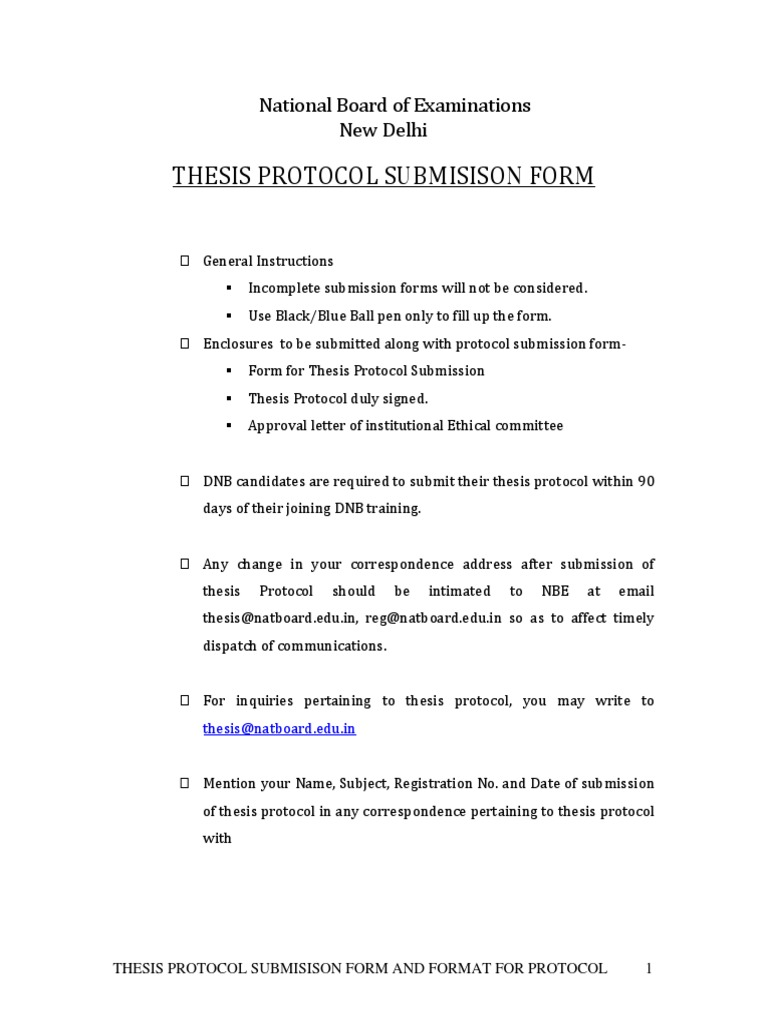 nbe thesis protocol submission form