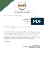 Richiesta per la Costituzione della Commissione Comunale per l'ammissibilità dei Referendum