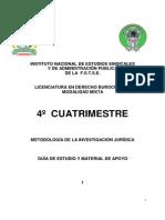 CUARTO CUATRIMESTRE METODOLOGÍA PARA LA INVESTIGACIÓN JURÍDICA