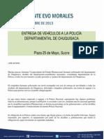 ENTREGA DE VEHÍCULOS A LA POLICIA DE CHUQUISACA 19-11-13