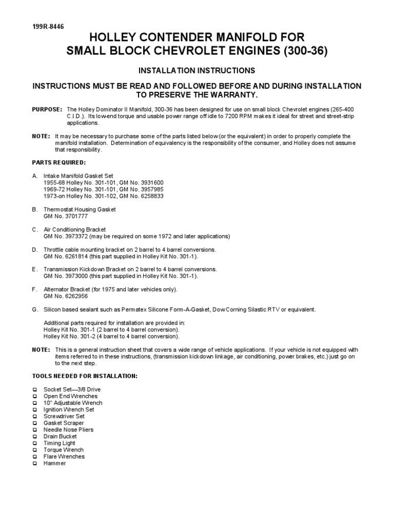 Holley Sbc Installation Manual Carburetor Throttle Gm 2 Engine Parts Diagram
