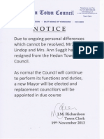 Hedon Town Council Resignation Notice