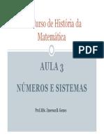 APRESENTAÇÃO - UM CURSO DE HISTÓRIA DA MATEMÁTICA - AULA 3