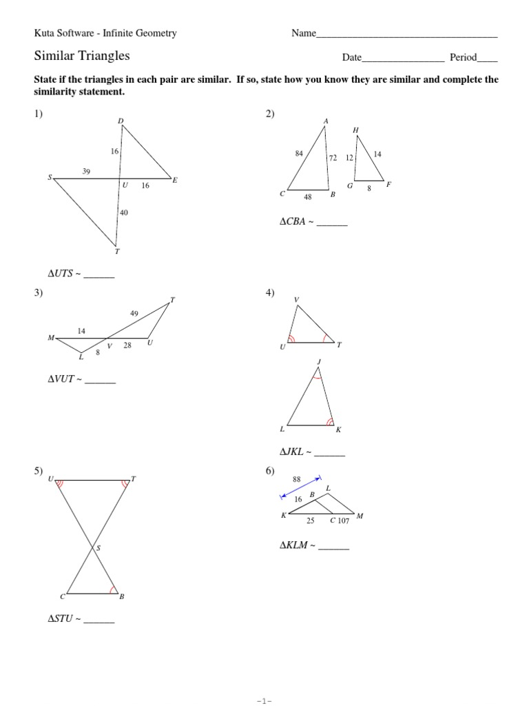 7 Similar Triangles Triangle Numbers