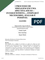 O PROCESSO DE APRENDIZAGEM EM UMA PERSPECTIVA SÓCIO – INTERACIONISTA ..