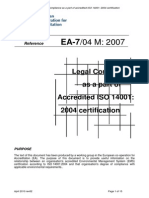 EA-7 04 – Legal Compliance as a part of accredited ISO 14001 2004 certification