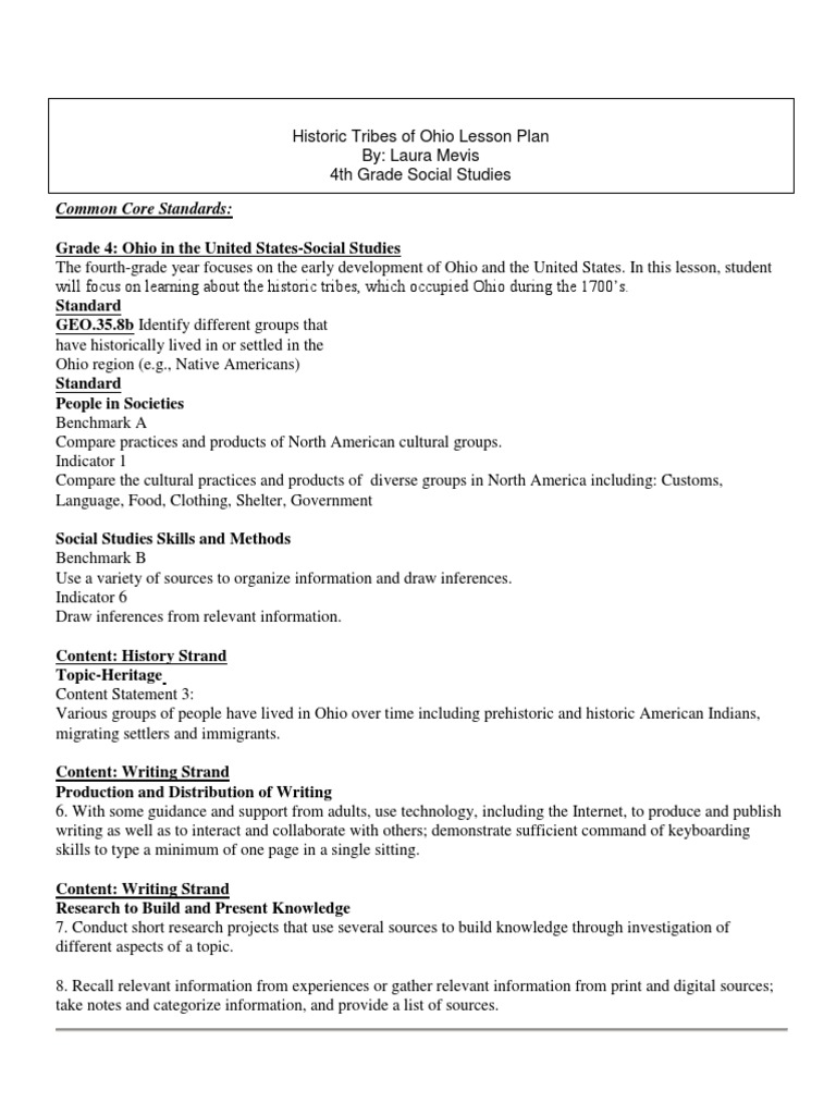 Educ 2220 Lesson Plan Native Americans In The United States