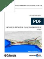 Perfil de Proyecto nivel preinversión Linea 2 Metro de Lima