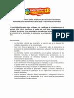 Carta de Compromisos Con Los Derechos Culturales de Las Comunidades firmada por candidatos presidenciales