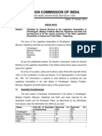Schedule of Vidhan Sabha (Legislative Assembly) Election November, 2013