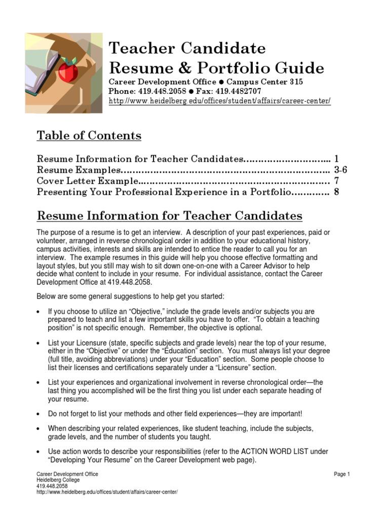 teacher candidate resume guide