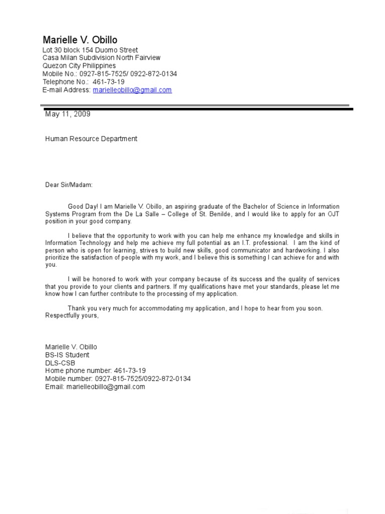information systems cover letters