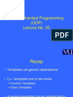 Object Oriented Programming (OOP) - CS304 Power Point Slides Lecture 33
