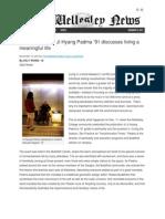 11.13.13 The Wellesley News Features Living the Season by Ji Hyang Padma