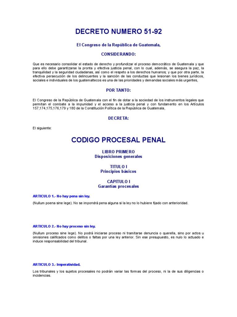 Código Procesal Penal, Decreto 51-92