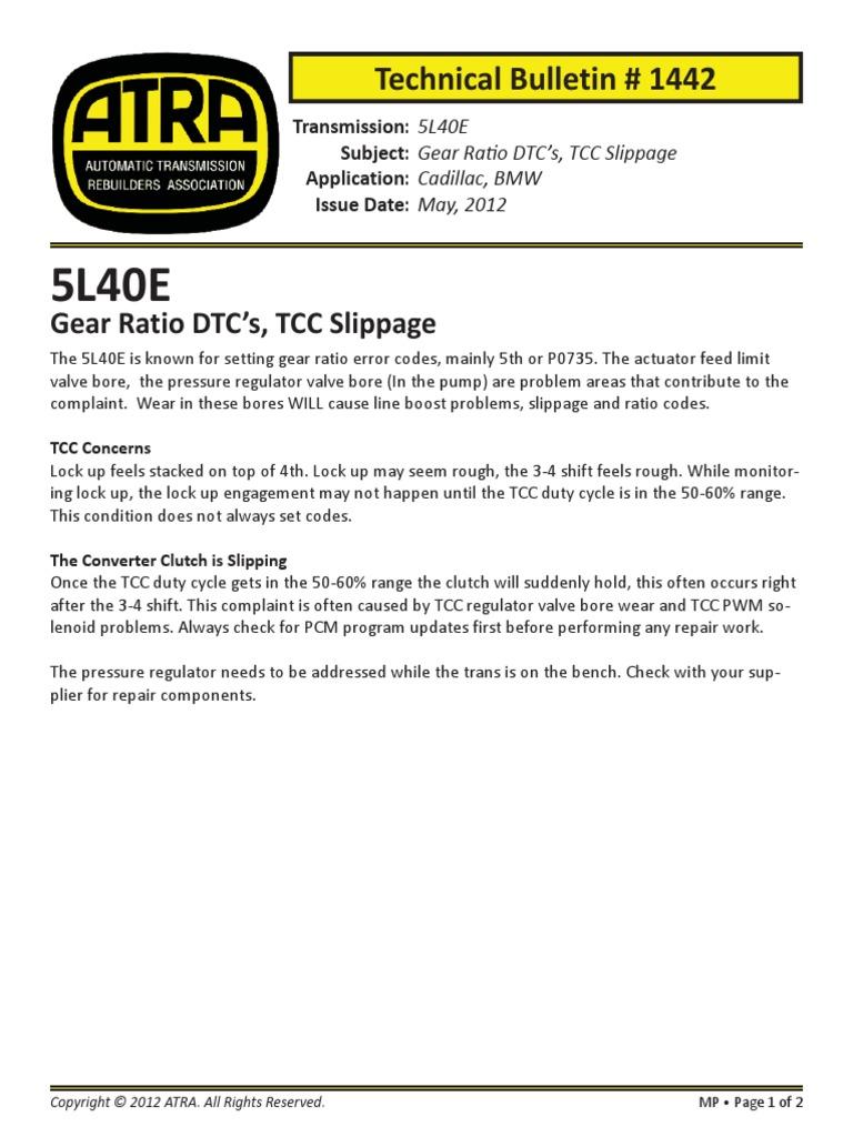 Gear Ratio DTC's, TCC Slippage
