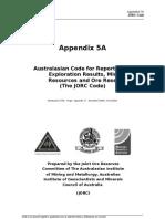 Appendix 5A JORC Code