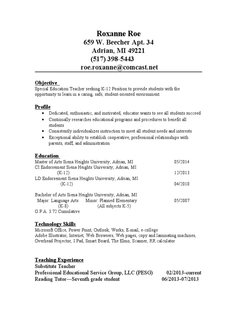 resume  schools  applied psychology