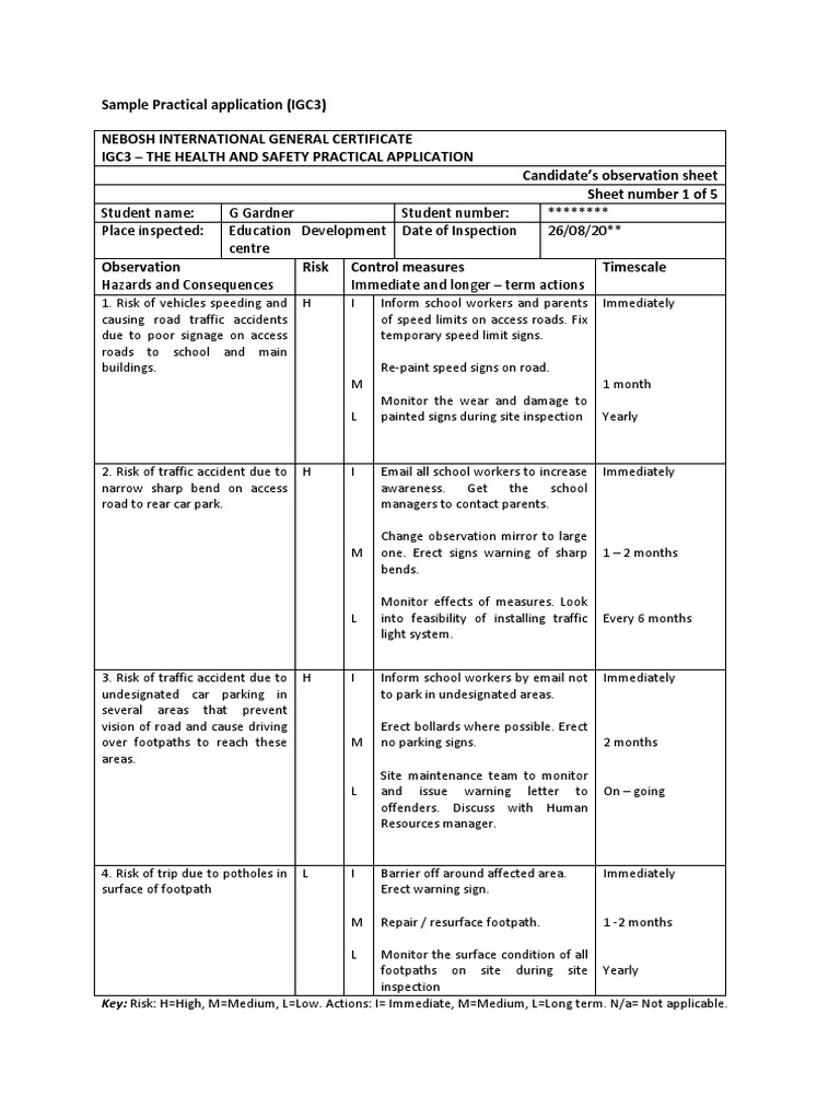 nebosh igc3 candidates observation sheet Read on nebosh candidates observation sheet get nebosh ngc3 report examples azw  candidates observation sheet igc3 the health and safety practical application.