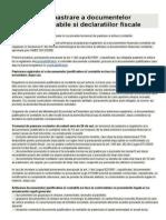 Termenul de Pastrare a Documentelor Financiar Contabile Si Declaratiilor Fiscale