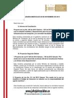 Agenda Legislativa de Plenaria - Nov 20