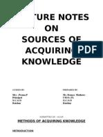 Methods of Acquiring Knowledge Over