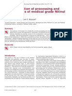 Optimisation of processing and properties of medical grade Nitinol wire
