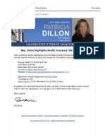 Rep. Dillon Highlights Health Insurance Info Sessions