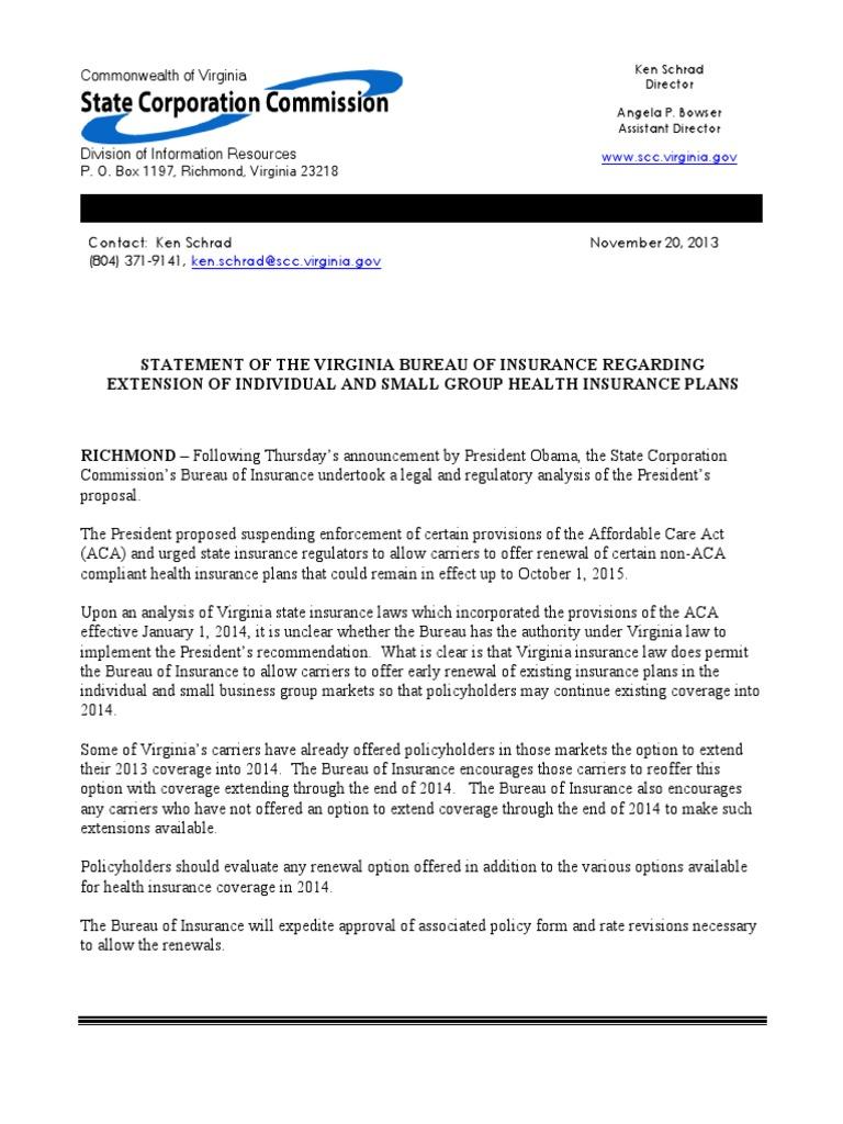 Statement of the Virginia Bureau of Insurance Regarding ...