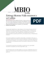 08-08-2013 Diario Matutino Cambio de Puebla - Entrega Moreno Valle Recursos a 217 Ediles