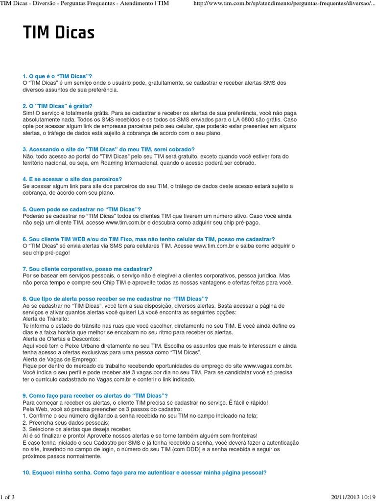 TIM Dicas - Diversão - Perguntas Frequentes - Atendimento _