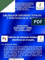 Calculo de Esfuerzo Totales y Efectivos en El Suelo.