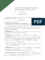 Un teorema de existencia y unicidad de soluciones de Ecuaciones Diferenciales Ordinarias